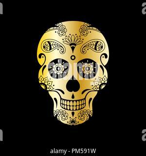 Vektor golden Sugar Skull mit Blumenmuster auf schwarzem Hintergrund. Luxus Abbildung: Sugar Skull für mexikanische Tag der Toten Feier Festival - Stockfoto