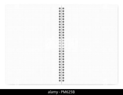 Notebook mit weißen Quadrat geöffneten Seiten im A4-Format, Vektor mock up. Spiralbindung loses Blatt notepad mockup. Wirebound Tagebuch auf weißen Hinterg isoliert - Stockfoto
