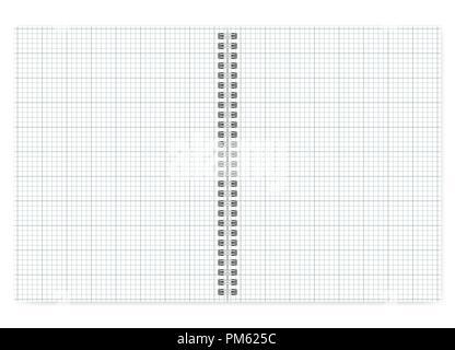 Letter Format Notebook mit weißen Quadrat Seiten geöffnet, Vektor mock up. Spiralbindung Querschnitt Papier notepad mockup. Wirebound Tagebuch verteilt isoliert - Stockfoto