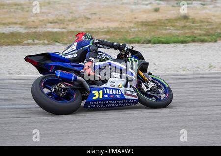 Garrett Garloff, uns Yamaha superstock Reiter, in einer Linkskurve gesehen - Stockfoto