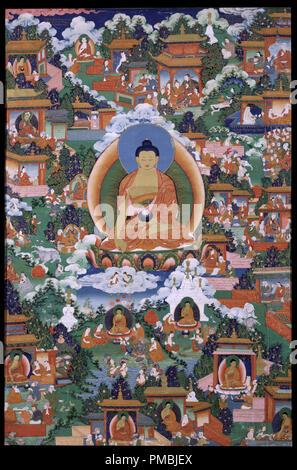 Buddha Shakyamuni mit Avadana Legende Szenen. Datum/Zeit: 19. Malerei. Pigmente auf Tuch Pigmente auf Tuch. Höhe: 854.07 mm (33,62 in); Breite: 565.15 mm (22.25 in). Autor: Unbekannt. - Stockfoto