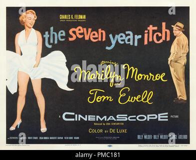 Marilyn Monroe, das verflixte siebte Jahr (Twentieth Century Fox, 1955). Lobby Card Datei Referenz # 33595 234 THA - Stockfoto