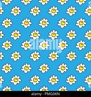 Floral blau nahtlose Kamille Zeichnung. Vector Illustration. Weißen gänseblümchen Muster auf einem hellen Hintergrund. - Stockfoto