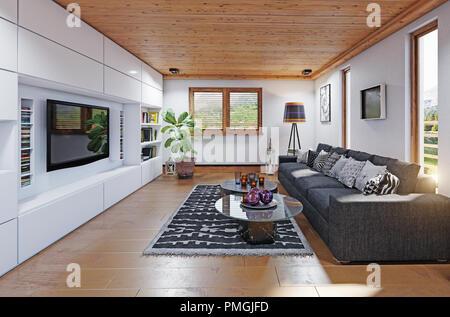 Modernes Haus Wohnbereich Interieur. 3D-rendering Design Konzept - Stockfoto