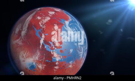 Alte Mars mit den Ozeanen und den Wolken, Oberfläche Wasser auf dem Roten Planeten (3D-Raum zu machen, Elemente dieses Bild sind von der NASA ausgestattet) - Stockfoto