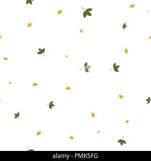Blätter im Herbst nahtlose Muster. Abbildung. Isoliert weißer Hintergrund. - Stockfoto