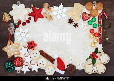 weihnachten abstrakt hintergrund grenze einschliesslich christbaumschmuck schneeflocken kekse kuchen gewurze und winter