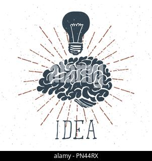 Hand gezeichnet Gehirn mit Idee Schriftzug und Glühlampe. Vektor - Stockfoto