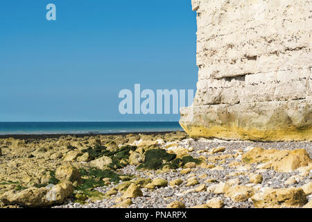 Sicht auf die weißen Kreidefelsen von Seaford, East Sussex, England, Teil der Sieben Schwestern Nationalpark, selektiven Fokus - Stockfoto