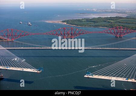 Luftaufnahme der Forth Bridge - Stockfoto