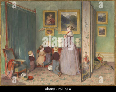 Das Abendgebet, 1839. Datum/Zeitraum: 1839. Malerei. Aquarell und Bleistift. Autor: Peter Fendi. - Stockfoto
