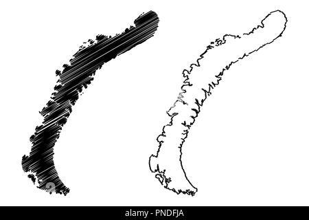 Nowaja Semlja (Archipel von Russland, Severny Insel und Yuzhny Insel) Karte Vektor-illustration, kritzeln Skizze Nova Zembla Karte - Stockfoto