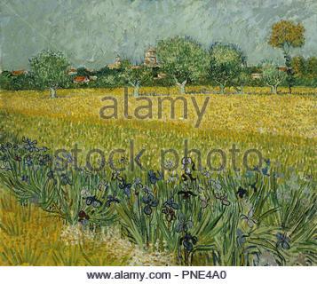 Veld met bloemen bij Arles/Feld mit Blumen in der Nähe von Arles. Datum/Zeit: 1888. Malerei. Öl auf Leinwand. Höhe: 54 cm (21.2 in); Breite: 65 cm (25,5 in). Autor: VINCENT VAN GOGH. - Stockfoto