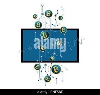 Bitcoin wallet cryptocurrency auf virtuellen Bildschirm, Finanz Technologie, digital banking Konzept - Stockfoto