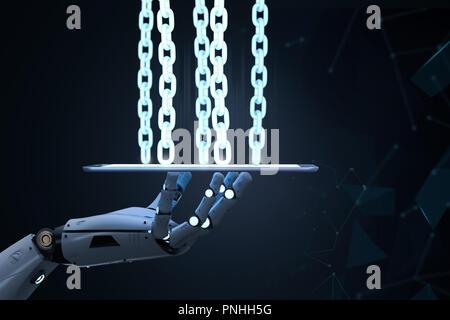 Blockchain Technologiekonzept mit 3D-rendering Roboterarm mit Kette auf Tablet-PC - Stockfoto