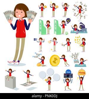 Eine Reihe von Frauen mit über Geld und Wirtschaft. Es gibt auch Aktionen über Erfolg und Misserfolg. Es ist Vektor Kunst so ist es leicht zu bearbeiten. - Stockfoto