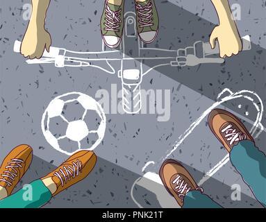 Gruppe Teenager auf Asphalt Kreide bemalt verschiedene Street Sport. Farbe Vector Illustration. EPS8 - Stockfoto