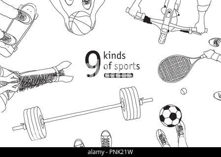 Verschiedene Sportarten und Athleten set top anzeigen. Schwarz und Weiß. Monochromen Vector Illustration. EPS8 - Stockfoto