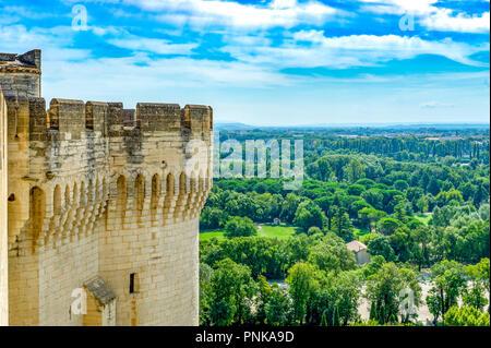 Frankreich. Gard (30). Villeneuve-Les-Avignon. Turm von Fort St. Andrew. Von Philippe Le Bel am Ende des 13. Jahrhunderts gefördert. - Stockfoto