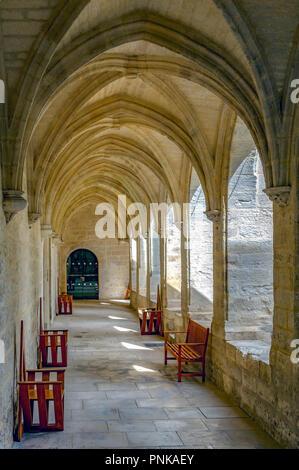Frankreich. Gard (30). Villeneuve-Les-Avignon. Chartreuse Notre-Dame-du-Val-de-Bénédiction. Der kleine Kreuzgang - Stockfoto