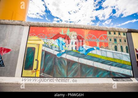 Blick auf die Berliner Mauer. - Stockfoto
