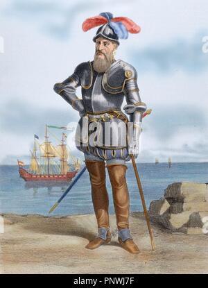 Francisco Pizarro y Gonzalez, 1 los Atabillos (c.1471 oder 1476-1541). Spanische Eroberer des Inkareiches und Gründer von Lima. Peru. - Stockfoto