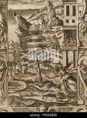 Ovid (Publius Ovidius Naso) (43 v. Chr. - 17 n. Chr.). Lateinische Dichter. 2-20:00 Metamorphosen. Buch IV. Gravur mit dem Tod von Pyramus und Thisbe. Italienische Ausgabe. Venedig, 1584. Stockfoto