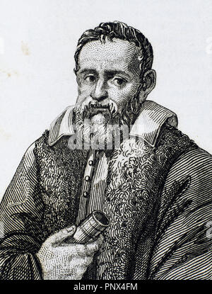 Galileo Galilei (1564-1642). Italienischer Mathematiker, Physiker und Astronom. Gravur. - Stockfoto