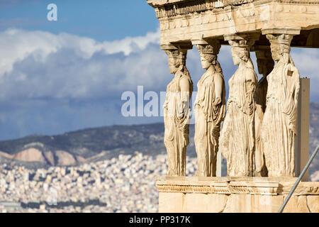 Wunderschöne Aussicht auf Erechtheion in Athen (Griechenland) - Stockfoto