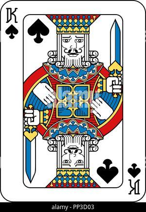 Spielkarte Pik König Gelb Rot Blau Schwarz - Stockfoto