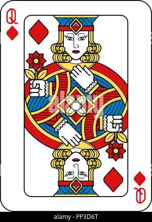 Karten Queen Diamanten Gelb Rot Blau Schwarz - Stockfoto