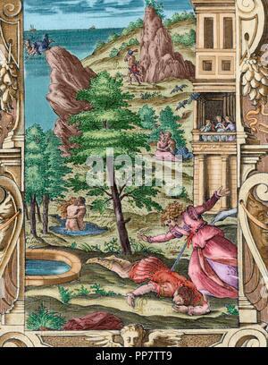 Ovid (Publius Ovidius Naso) (43 v. Chr. - 17 n. Chr.). Lateinische Dichter. 2-20:00 Metamorphosen. Buch IV. Gravur mit dem Tod von Pyramus und Thisbe. Italienische Ausgabe. Venedig, 1584. Farbige. Stockfoto