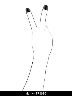 Vector Illustration einer Hand mit zwei Fingern. - Stockfoto