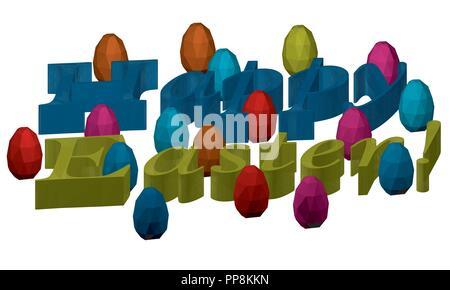 3d-aufschrift Frohe Ostern. Herzlichen Glückwunsch zu Ostern. Frohe Ostern Beschriftung auf weißem Hintergrund. Vector Illustration. Viele bunte p - Stockfoto