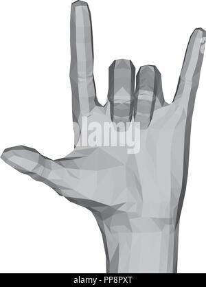 3D-polygonalen Hand. Die Hand zeigt zwei Finger. Rock. Vector Illustration. - Stockfoto