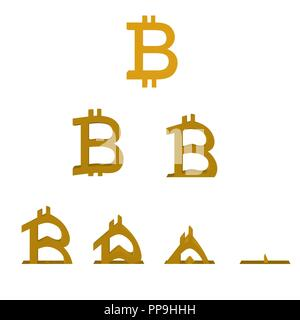 Bitcoin schmilzt. Reihenfolge der verschiedenen Phasen des bitcoin. 3D. Vector Illustration der fallenden Bitcoin Kurs. - Stockfoto