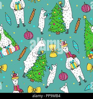 Süße Hand gezeichnet nahtlose Muster mit schönen Lamas Vorbereitung für das Neue Jahr. Kinder- Stil. - Stockfoto