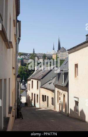 Altes haus Fassaden, untere Stadt Wengen, der Stadt Luxemburg, Luxemburg, Europa ich alte Hausfassaden, Unterstadt Grund, Luxemburg-Stadt, Luxemburg, Europa I - Stockfoto
