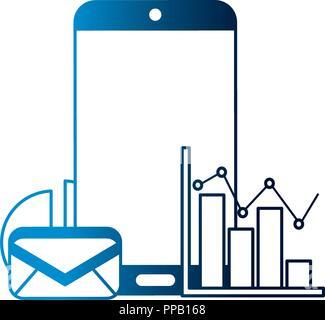 Smartphone E-Mail Statistiken Diagramm Vektor-illustration neon - Stockfoto