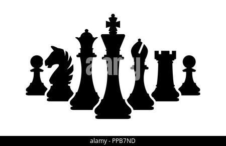 Vektor Schachfiguren Team auf weißem Hintergrund. Silhouetten der Schachfiguren - Stockfoto