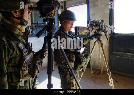 Soldaten aus der japanischen Boden Self Defense Force passt ihre Waffe zu einem anderen Ziel während einer Sniper Identifikation Training Strecke während der Übung steigenden Donner 18 am Yakima Training Center, Washington, Sept. 1, 2018. Diese Übung gibt dem JGSDF Gelegenheit in einer multinationalen Training durch US-Soldaten bereitgestellten Kapazitäten weiter zu verbessern. - Stockfoto