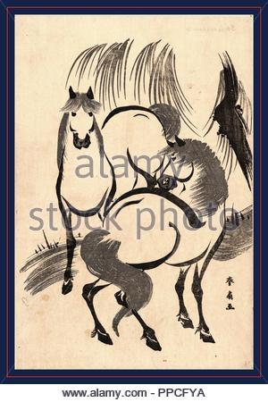 Ryuka kein Uma Pferde unter einer Weide Baum., Katsukawa, Shunsen, 1762-ca. 1830, Künstler, [zwischen 1804 und 1818], 1 print: Holzschnitt; 34,5 x 23,2 cm., zeigt Print zwei Pferde. - Stockfoto