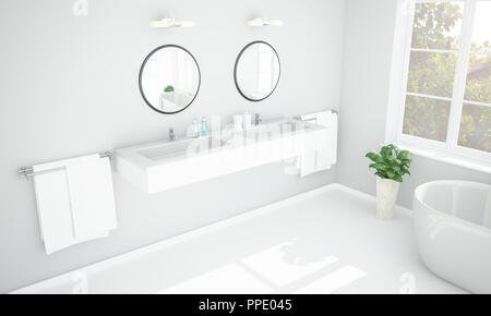 3D-Rendering des geräumigen, luxuriösen Badezimmer mit freistehende ...