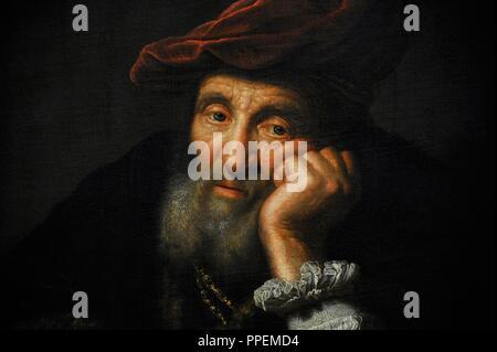 Thomas Niemann Flinck (1615-1660). Niederländisch Golden Age Maler. Alter Mann lehnte sich auf ein Kissen. Kopieren. Wallraf-Richartz-Museum. Köln. Deutschland. - Stockfoto