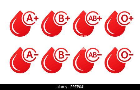 Blutgruppe Vector Icons auf weißem Hintergrund. Tropfen Blut mit Blut Art. Spende Blut - Stockfoto