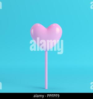 Rosa Herz auf einem Stock, auf hellen blauen Hintergrund in Pastellfarben. Minimalismus Konzept. 3D-Rendering - Stockfoto