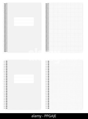 Draht- und Spiralfeder gebunden Grid gesäumt Notebook, realistische Vektor mockup. A4-kariertem Papier notepad, Mock up. Loses Blatt copybook, Vorlage - Stockfoto