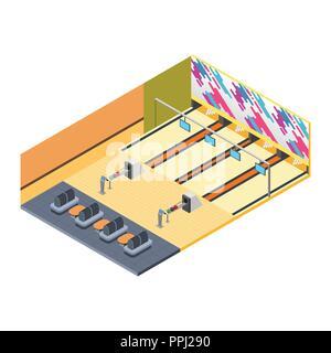 Ein Vektor Illustration der Kegelbahn Isometrische - Stockfoto