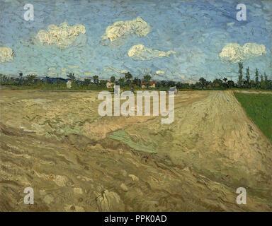 "Geploegde akkers ('De voren')/gepflügten Feldern (die ""Furchen""). Datum/Zeit: 1888. Malerei. Öl auf Leinwand. Höhe: 65 cm (25.5 in); Breite: 81 cm (31.8 in). Autor: VINCENT VAN GOGH. VAN GOGH, Vincent. - Stockfoto"
