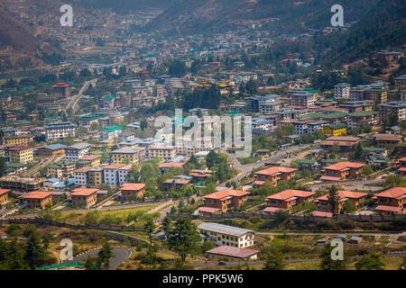 Eine Luftaufnahme von thimpu die Hauptstadt der Himalaja Königreich Bhutan - Stockfoto